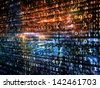 Fractal City series. Backdrop design of three dimensional fractal structures, numbers and lights to provide supporting composition for works on technology, communications, education and science - stock photo