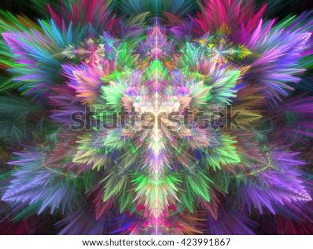 Fractal colorful feather background - stock photo