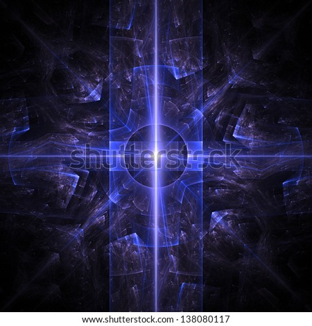 Fractal flame background. Blue crystal texture on black. - stock photo