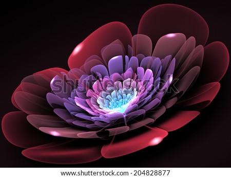 Fractal Flower light glass - stock photo