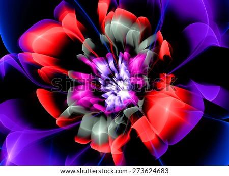 Fractal Flower violet Glass effects - stock photo