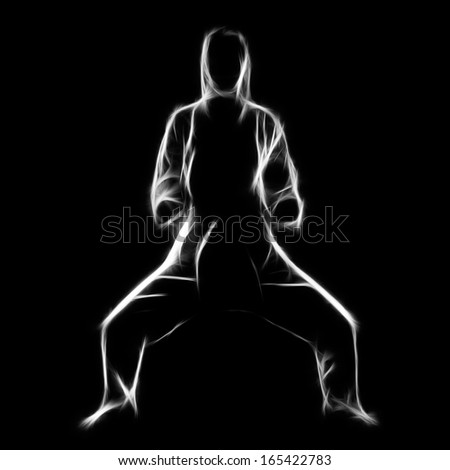 Fractal full-length silhouette portrait of beautiful martial arts girl in kimono excercising karate kata in kiba dashi pose on black - stock photo