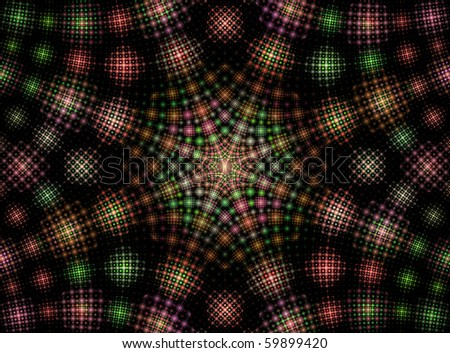 Fractal Generated Abstract Concept of Tartan Patterns - stock photo