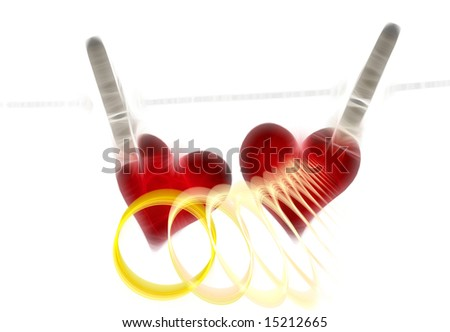 Fractal hearts and rings for wedding - stock photo