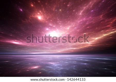 Fractal Horizons - Ethereal reflections on an otherworldly sea - stock photo