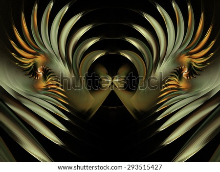 fractal illustration a butterfly and spiral golden glow - stock photo