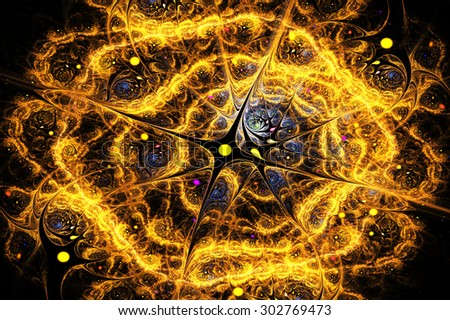fractal illustration background gold swirl of the birth of the universe - stock photo