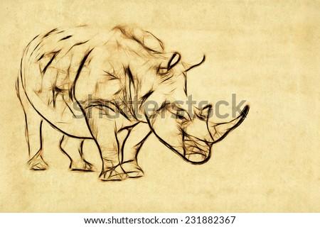 Fractal illustration of a Rhinoceros - stock photo