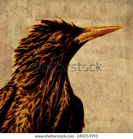 Fractal illustration of a starling - stock photo