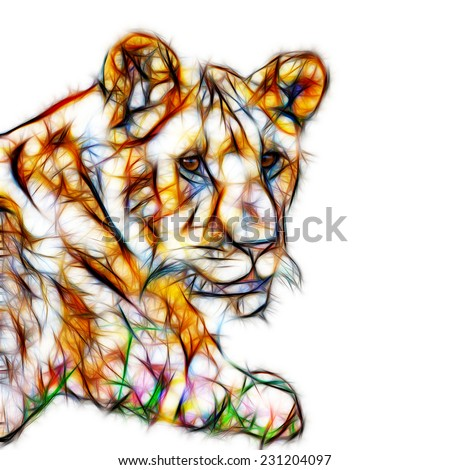 Fractal illustration of a young African Lioness - stock photo