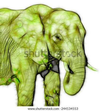 Fractal illustration of an african elephant - stock photo