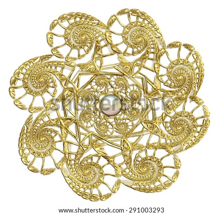 fractal illustration of round gold brooch with pearls - stock photo