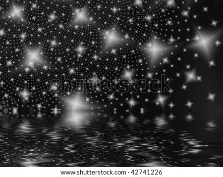 Fractal image of an abstract star galaxy or constellation reflected in water. - stock photo