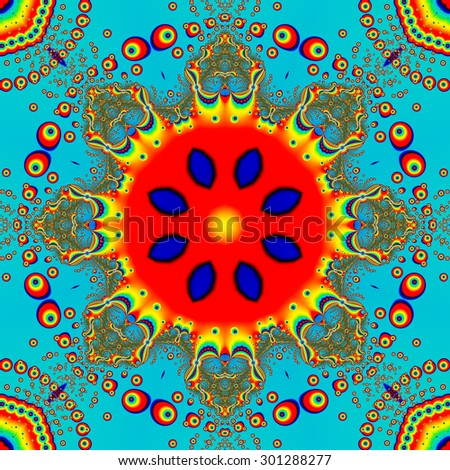 Fractal kaleidoscopic image with 8 fold rotational symmetry cropped to a perfectly centered square creating a computer generated mandala in vibrant red, yellow, turquoise, blue, and green colors. - stock photo