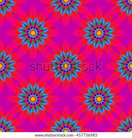 Fractal mandala seamless pattern on pink leaves background. - stock photo