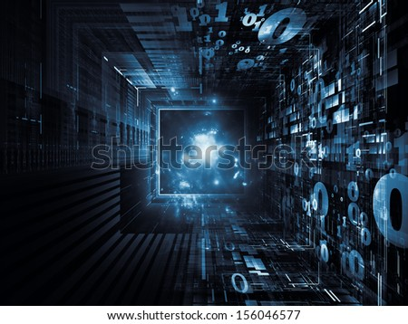 Fractal Realms series. Arrangement of fractal elements, grids  and symbols on the subject of education, science and technology - stock photo