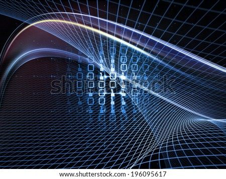 Fractal Realms series. Backdrop of fractal elements, grids  and symbols on the subject of education, science and technology - stock photo