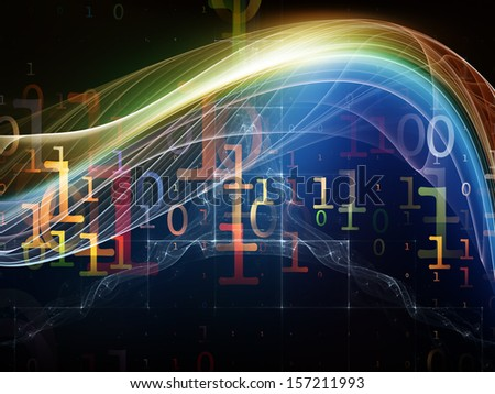Fractal Realms series. Composition of  fractal elements, grids  and symbols to serve as a supporting backdrop for projects on education, science and technology - stock photo