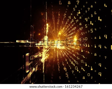 Fractal Realms series. Visually attractive backdrop made of fractal elements, grids  and symbols suitable as element for layouts on education, science and technology - stock photo
