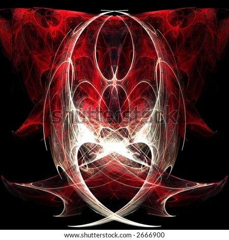 Fractal rendering of an abstract heart angel - stock photo