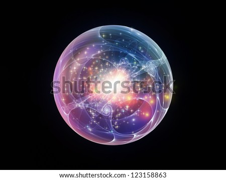 Fractal Sphere Series. Composition of spherical and circular fractal elements with metaphorical relationship to abstraction, graphic design and modern technology - stock photo