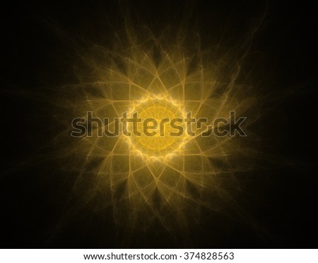 Fractal sun on the black background - stock photo