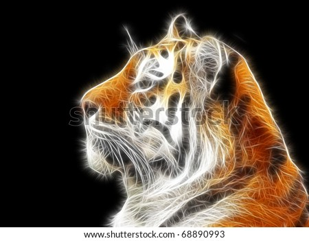 Fractal Tiger Illustration - stock photo