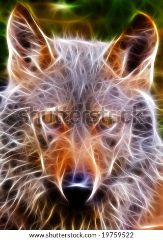 fractal wolf - stock photo