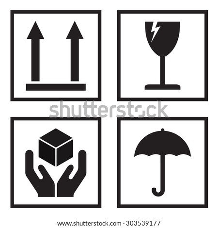 Fragile or packaging symbols. Black fragility signs on white background.  - stock photo