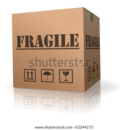 fragile post package sending delicate shipment cardboard box - stock photo