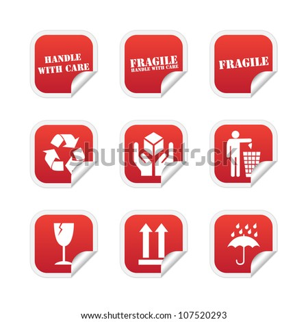 Fragile stickers. Vector available. - stock photo