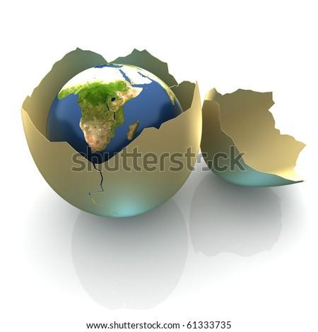 Fragile World - Earth globe facing Africa in cracked egg shell - stock photo