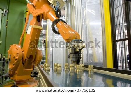fragment cnc milling machine with robot - stock photo