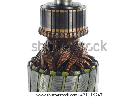 fragment electric engine on white background - stock photo