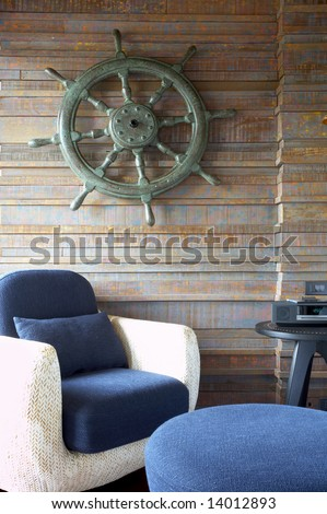 Fragment like view of nice light living room - stock photo