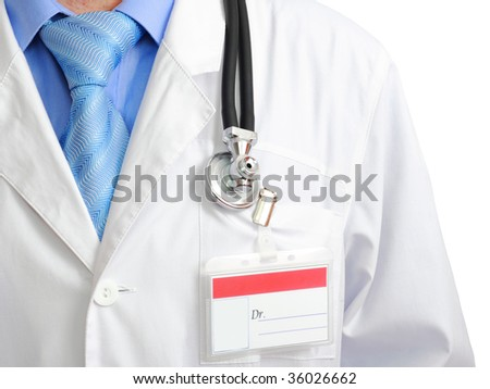 Fragment  medical doctor's smock with stethoscope. Isolated. - stock photo