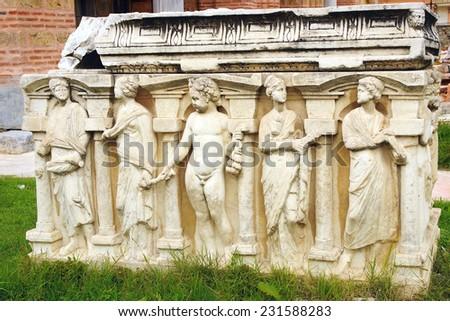 Fragment of a bas-relief in Iznik (Nicaea), Turkei - stock photo