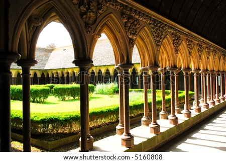 Fragment of a cloister in Mont Saint Michel abbey in France - stock photo