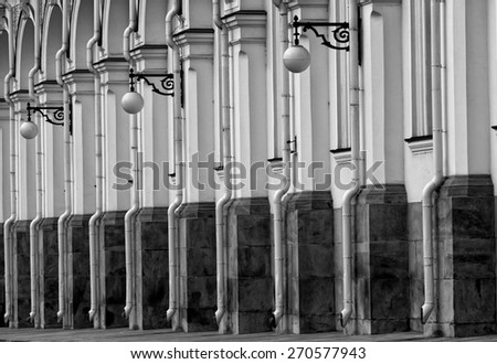 Fragment of a facade of the Grand Kremlin Palace in Moscow, monochrome - stock photo
