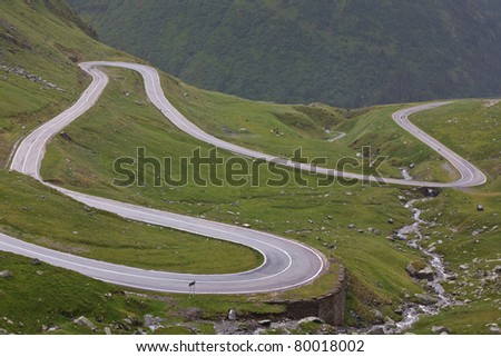 Fragment of a high altitude road in the mountains.Location:Transfagarasan, Romania - stock photo