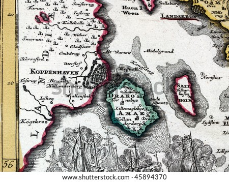 Fragment of a map from XVIII century. - stock photo