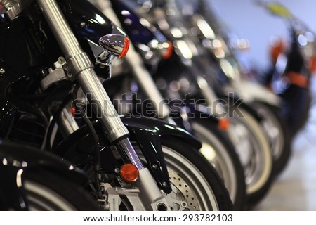 fragment of a motorcycle - stock photo