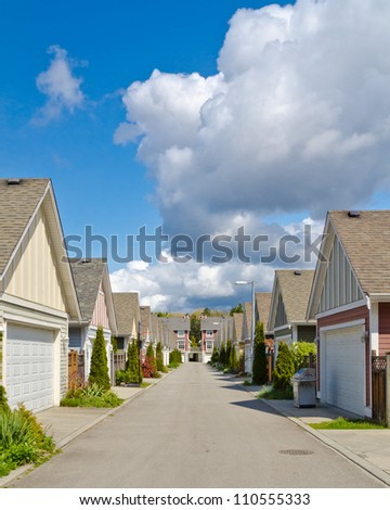 Fragment of a row of luxury garages in Vancouver, Canada. - stock photo
