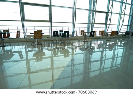 Fragment of airport interior - stock photo