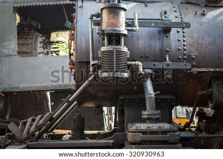fragment of an old steam locomotive - stock photo