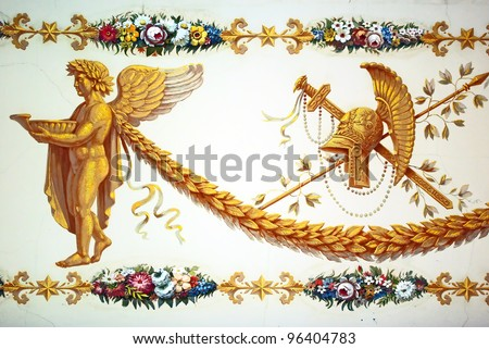 Fragment of ancient celling decoration in antique style - stock photo