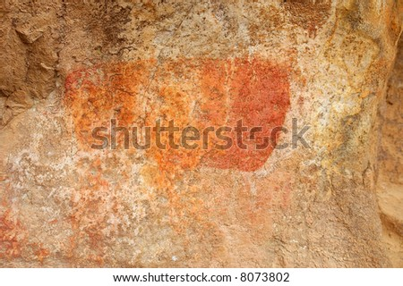 Fragment of another bushman painting in mountains. Shot in Cederberg Mountains, Western Cape, South Africa. - stock photo