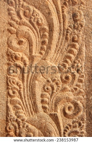 Fragment of beautiful wall decoration in Hindu Jambukeswarar Temple in Trichy (Tiruchirapalli), Tamil Nadu, South India - stock photo