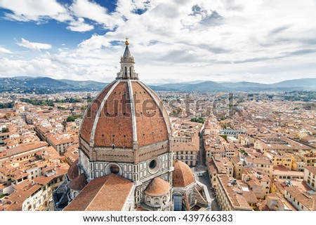 Fragment of Cathedral of Santa Maria del Fiore (Duomo) from viewpoint at Campanilla in Florence, Toscana province, Italy. - stock photo