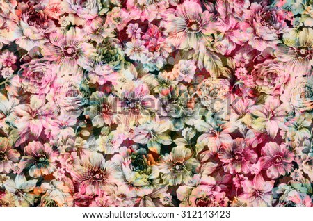 Fragment of colorful retro tapestry  Fragment of colorful retro tapestry textile pattern with floral ornament useful as background - stock photo